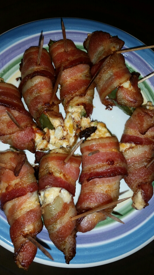 Finished Bacon Wrapped Jalapenos